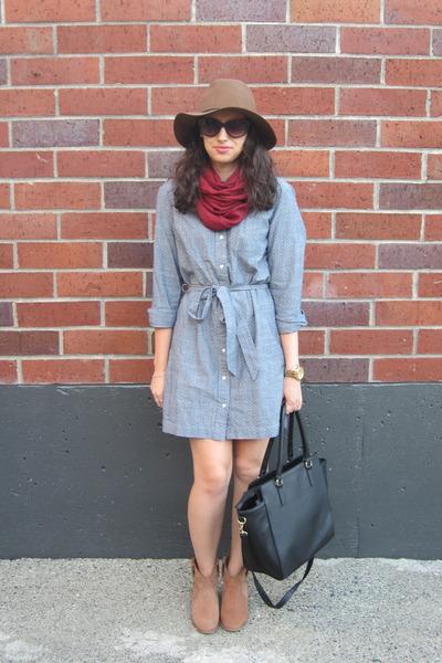 sky blue banana republic dress - tan Aldo boots - brown Target hat