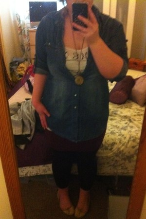denim Dorothy Perkins shirt - new look leggings - H&M vest - Primark skirt