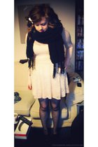 beige Topshop dress - black Primark tights - black knitted scarf - black new loo