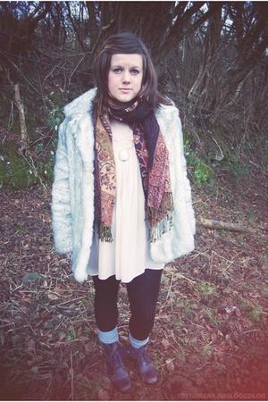 silver Vintage Astraka coat - beige new look top - brown vintage scarf - black F