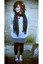 gray Topshop sweater - gray Topshop top - gray new look skirt - black Primark le