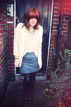 beige blazer - beige top - gray skirt - black boots - black tights - gold neckla