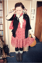 white vintage scarf - brown River Island boots - red H&M dress