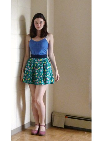 turquoise blue heart patterned Forever 21 skirt - blue Aerie vest