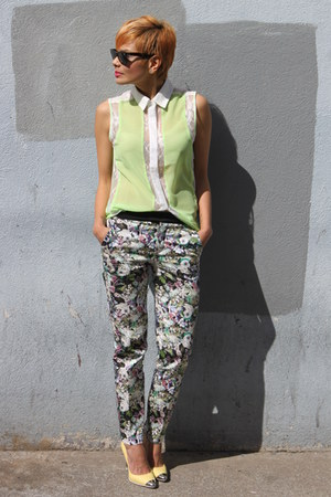 sheer lace Funky Elegance top - flower print Zara pants - Zara pumps