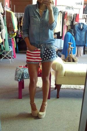 blue Urban Outfitters shirt - camel Jeffrey Campbell heels