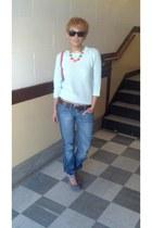 sky blue Zara sweater - heather gray sam edelman heels