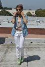 Light-blue-denim-forever21-shirt-lime-green-jefferey-campbell-boots