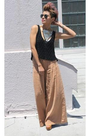 light brown free people pants - black BCBG top