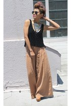 light brown free people pants - black BCBG top