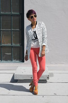 salmon Hudson jeans - cream romwe top - bronze jefferey campbell sandals