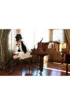 black Forever21 vest - white My Story dress - brown YSL boots - black Agaci hat