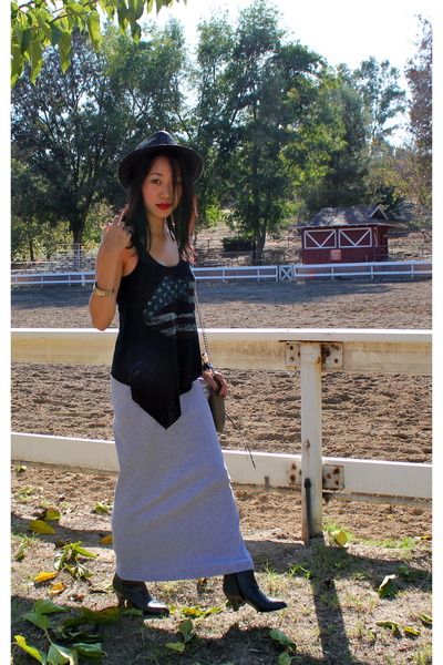 H&M hat - classic top - Anonymous dress - vintage boots - Rebecca Minkoff bag
