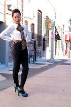 Zara blouse - Santee Alley pants - BCBGirls shoes - Stussy earrings - H&M scarf