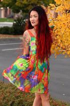 maroon vintage boots - chartreuse tie dye telltale hearts vintage dress