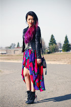 red rose vintage skirt - black asos boots - black Forever 21 jacket