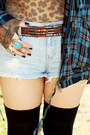 Teal-plaid-forever-21-jacket-light-blue-denim-forever-21-shorts