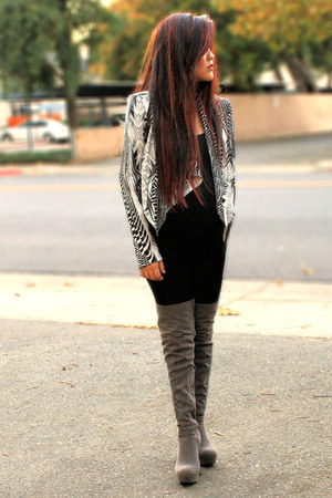 hm jacket - urban original boots - Forever 21 necklace