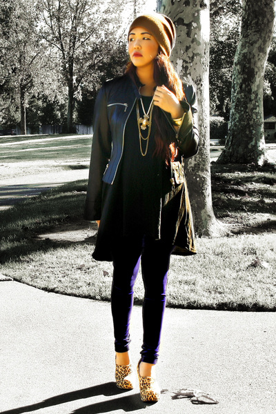 Forever 21 jacket - leopard wedges Jeffrey Campbell shoes - H&M dress