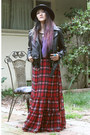 Plaid-forever-21-dress-nastygal-hat-leather-vintage-jacket