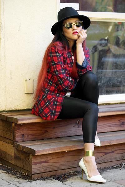 tartan vintage pendleton blazer - nastygal hat - thrifted shirt - Zara heels