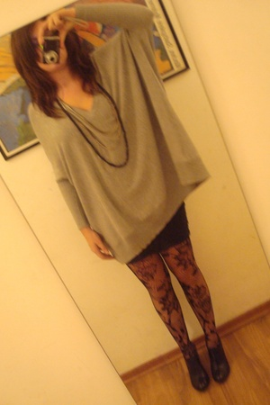 Mango sweater - random skirt - omsa tights - Oxford shoes