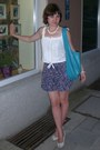 Turquoise-blue-cow-leather-six-coup-de-foudre-bag-blue-zara-shorts