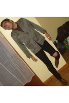 green vintage jacket - brown Zara top - brown Zara tie - black te amo pants - br