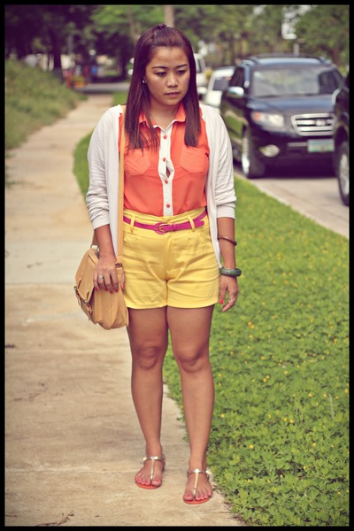 sheer blouse - high waisted shorts - white thrifted cardigan - orange flats