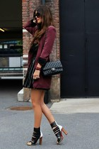 maroon jacket - black dress - black bag - white heels