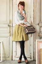 mustard skirt - brown shoes - periwinkle scarf - black stockings - white top