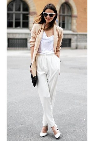 white t-shirt - peach blazer - black bag - white pants
