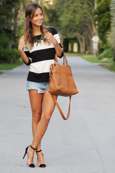 bronze bag - sky blue shorts - white t-shirt - black heels