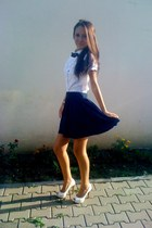 white Stradivarius heels - navy H&M skirt - white top