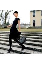 black dress - black bag