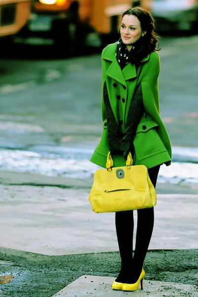 chartreuse coat - yellow bag - black stockings - black gloves - yellow heels