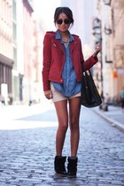 black bag - maroon jacket - eggshell shorts - light purple top - black flats