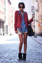 black bag - maroon jacket - eggshell shorts - light purple top - black flats