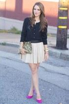 black jacket - light yellow bag - eggshell skirt - bubble gum heels