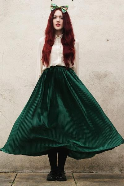 black shoes - black stockings - ivory top - dark green skirt