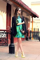 black jacket - aquamarine dress - black bag - yellow heels