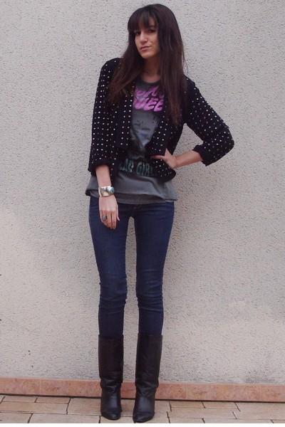 black H&M jacket - H&M jeans - black vintage boots