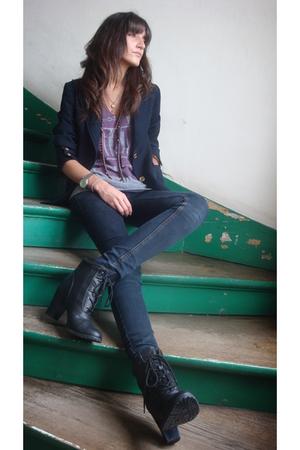 Celine Vintage blazer - Marc by Marc Jacobs t-shirt - Zara jeans - H&M accessori