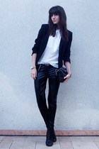 black Zara blazer - black lace up boots UO shoes