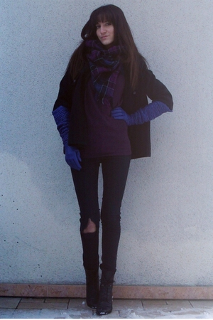 black UO coat - black Dr Denim jeans - purple UO sweater - purple H&M scarf - bl