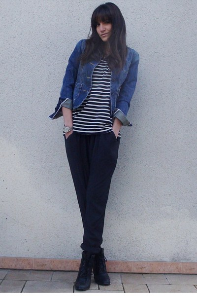 gray SilenceNoise - black Zara t-shirt - blue Fox jacket - black UO boots