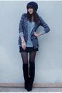 Gray-f21-cardigan-silver-zara-t-shirt-black-vintage-boots