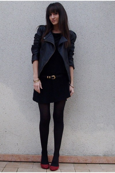 black Zara dress - black Maje jacket - red Deena & Ozzy shoes
