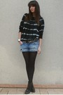 Blue-zara-sweater-blue-f21-shorts-black-vintage-belt-black-h-m-boots