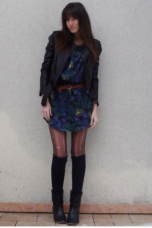 green H&amp;M dress - black Zara jacket - black texto boots - brown vintage belt